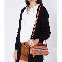 59 Seconds - Multicolor Stripe Twist-Lock Convertible Handbag