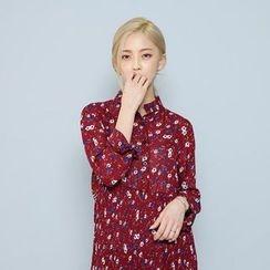 Envy Look - Mandarin-Collar A-Line Shirtdress