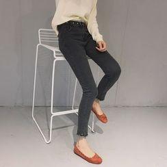 Cerulean - Fringed-Cuff Skinny Jeans