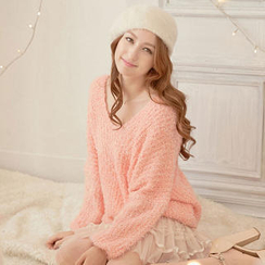 Tokyo Fashion - V-Neck Furry Sweater