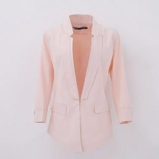 Flower Idea - 3/4 Sleeve Asymmetric-Hem Blazer