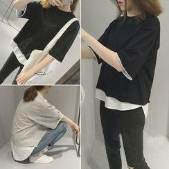 YOSH - Mock Two Piece Elbow Sleeve T-Shirt