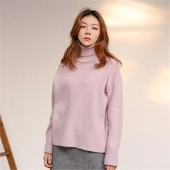 MAGJAY - Wool Blend Turtle-Neck Dip-Back Knit Top