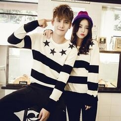 Azure - Couple Matching Striped Knit Pullover