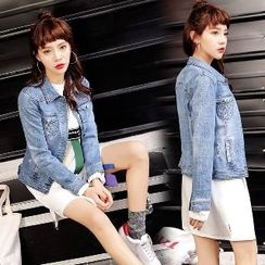 Romantica - Washed Buttoned Denim Jacket