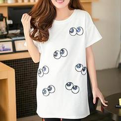 Classic Lady - Short-Sleeve Eye Sequined T-Shirt