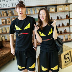 Azure - Couple Matching Monster Print T-Shirt