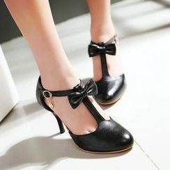 Charming Kicks - Bow T-Strap Pumps