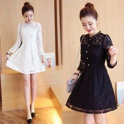 Kotoba - Long-Sleeve Lace Panel A-line Dress