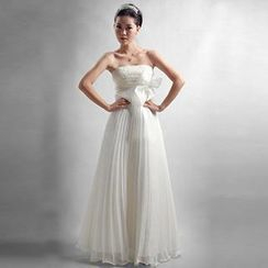 Bridal Workshop - Strapless Bow-Accent A-Line Evening Gown