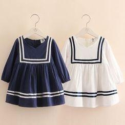 贝壳童装 - 儿童配色边长袖连衣裙