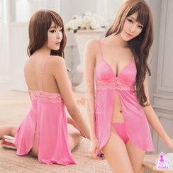 Ayoka - Set: Satin Night Dress + Thongs