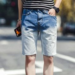 Danjieshi - Gradient Denim Shorts
