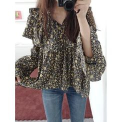 maybe-baby - Frilled-Trim Pattern Blouse