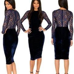 Hanni - Lace-Panel Sheath Dress
