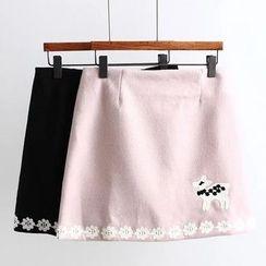 Suzette - Appliqué A-Line Skirt