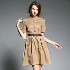 Ozipan - Short-Sleeve Buttoned Dress