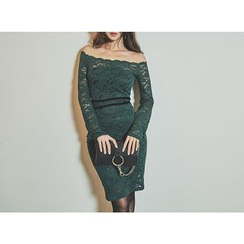 UUZONE - Off-Shoulder Lace Bodycon Dress