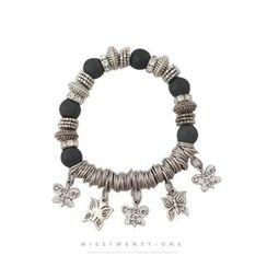 Miss21 Korea - Butterfly-Charm Beaded Bracelet