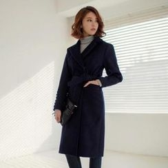 ERANZI - Wool Blend Long Trench Coat with Sash