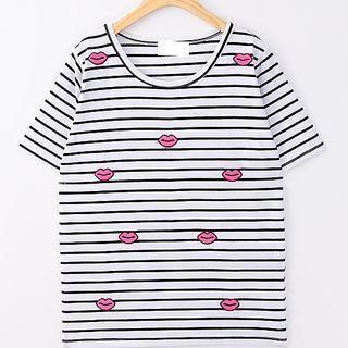 JVL - Short-Sleeve Lip-Appliqué Striped T-Shirt
