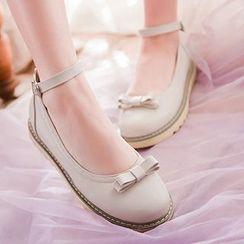 Sidewalk - Bow Ankle Strap Flats