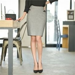 Styleberry - Contrast-Trim Pencil Skirt