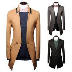 Hansel - Faux Leather Panel Coat