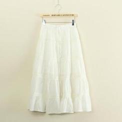 Mushi - Lace Trim Midi Skirt