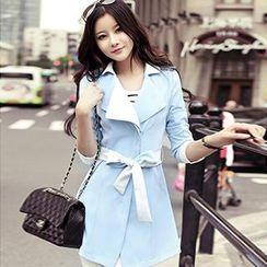 Romantica - Contrast-Trim Tie-Waist Trench Coat