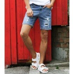 ABOKI - Denim Distressed Shorts