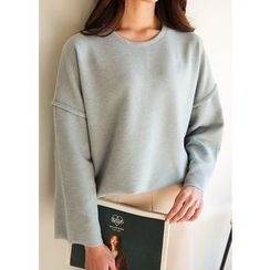 J-ANN - Brushed-Fleece Drop-Shoulder Pullover