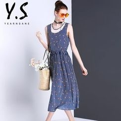 Y:Q - Sleeveless Printed Midi Dress