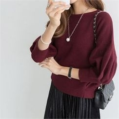 PEPER - Round-Neck Puff-Sleeve Knit Top