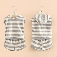 Seashells Kids - Kids Set: Striped Hooded Sleeveless Top + Shorts