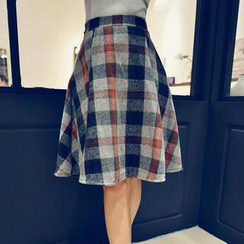 Jack Grace - Plaid A-Line Midi Skirt
