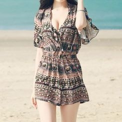 Lady J Swimwear - Set: Patterned Bikini + Cover-Up
