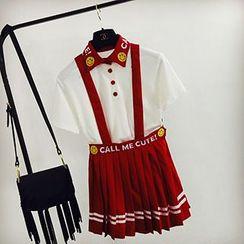 Apalili - Set: Embroidered Short-Sleeve Polo + Pleated Jumper Skirt