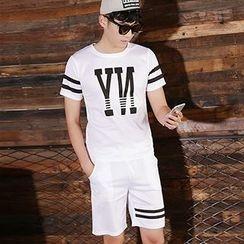Evzen - Letter Stripe Short-Sleeve T-shirt