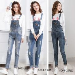 CASSY - Distressed Suspender Jeans