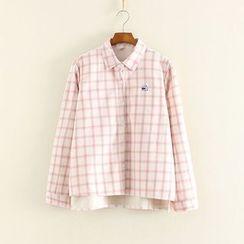 Mushi - Plaid Fleece-lined Long-Sleeve Blouse