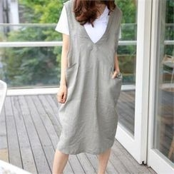 smusal - V-Neck Linen Jumper Skirt