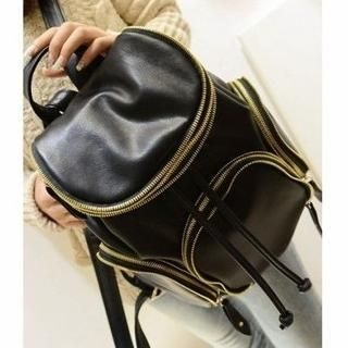 Miss Sweety - Faux-Leather Zip-Accent Backpack