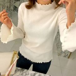 Wild Ivy - Long Bell Sleeve Mock Neck Top