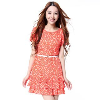 O.SA - Petal-Sleeve Layered Dotted Dress