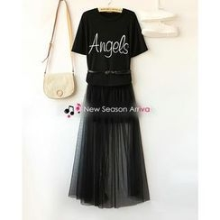 Ringnor - Set: Lettering T-Shirt + Tulle Skirt
