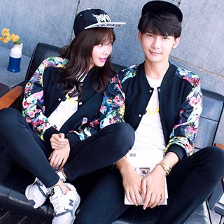 Lovebirds - Floral Print Sleeve Couple Bomber Jacket