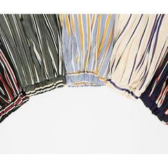 HOTPING - Band-Waist Striped Midi Skirt