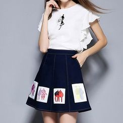 Merald - Set: Embroidered Frill Sleeve Blouse + Appliqué A-Line Denim Skirt
