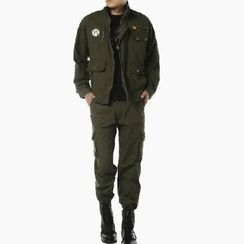 Keerme - Set: Applique Zip Jacket + Pocket-Accent Pants